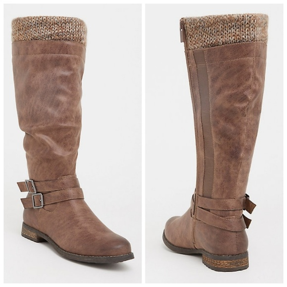 torrid Shoes - Torrid Taupe Sweater Knit Trim Slouch Knee Boots
